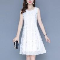 Printed Thin Fabric Sleeveless Mini Dress - White