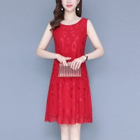 Printed Thin Fabric Sleeveless Mini Dress - Red