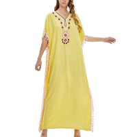 Bohemian Thread Art Loose Wear Full Maxi Dress - Yellow