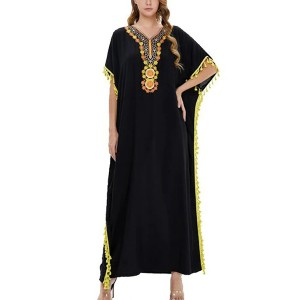 Bohemian Thread Art Loose Wear Full Maxi Dress - Black