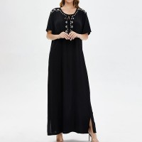Embroidered Loose Wear Full Length Maxi Dress - Black