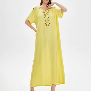 Embroidered Loose Wear Full Length Maxi Dress - Yellow