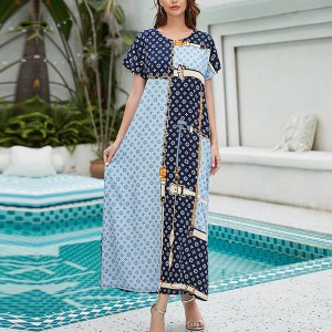 Contrast Full Length Loose Wear Maxi Dress - Multicolor
