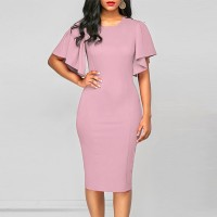 Flare Sleeves Body Fitted Solid Color Midi Dress - Pink