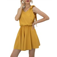 Solid V Knotted Neck Mini Wear Dress - Yellow