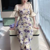 Frilled Floral Printed Square Neck Midi Dress - Purple