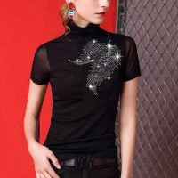 Sequins Decorative Thin Fabric Elegant Party Wear Blouse Top - Black