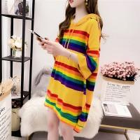 Rainbow Printed Hoodie Neck Short Sleeves Loose Blouse Top - Yellow