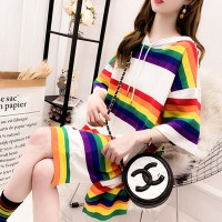 Rainbow Printed Hoodie Neck Short Sleeves Loose Blouse Top - White