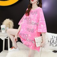 Alphabetic Pattern Loose Wear Round Neck Blouse Top - Pink