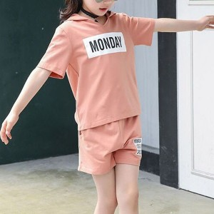 Alphabetic Printed Hoodie Neck Two Pieces Dress - Pink