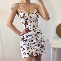 Butterfly Printed Spaghetti Strapped Mini Dress - White