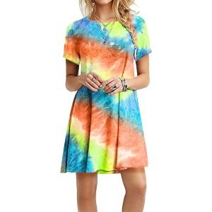 Mesh Colorful Round Neck A-Line Mini Dress