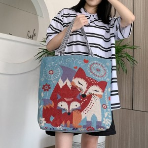 Cute Printed Fashionable One Shoulder Canvas Cloth Ladies Bag - Red