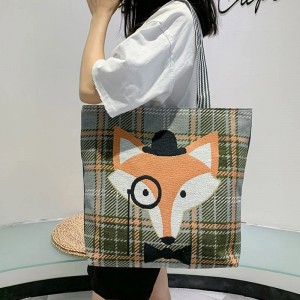 Cute Printed Fashionable One Shoulder Canvas Cloth Ladies Bag - Multicolor