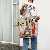 Cute Printed Fashionable One Shoulder Canvas Cloth Ladies Bag - Khaki