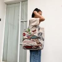 Cute Printed Fashionable One Shoulder Canvas Cloth Ladies Bag - Burgundy