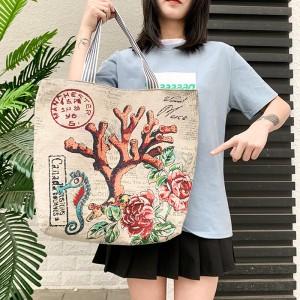 Cute Printed Fashionable One Shoulder Canvas Cloth Ladies Bag - Cream Orange
