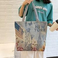 Cute Printed Fashionable One Shoulder Canvas Cloth Ladies Bag - Light Blue