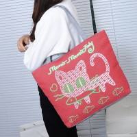 Cute Printed Fashionable One Shoulder Canvas Cloth Ladies Bag - Rose Red