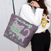Cute Printed Fashionable One Shoulder Canvas Cloth Ladies Bag - Purple