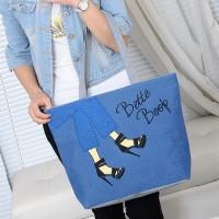 Cute Printed Fashionable One Shoulder Canvas Cloth Ladies Bag - Blue