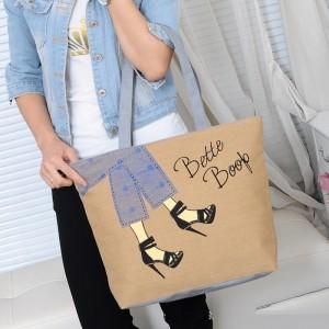 Cute Printed Fashionable One Shoulder Canvas Cloth Ladies Bag - Yellow