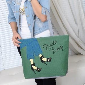 Cute Printed Fashionable One Shoulder Canvas Cloth Ladies Bag - Green