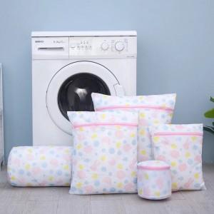 Set of 5 Zipper Foldable Nylon Cloth Laundry Bag - Multicolor