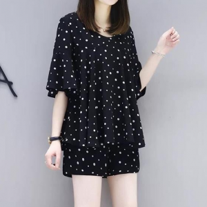 Polka Dotted Half Sleeves Two Pieces Suit - Black and White