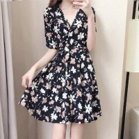 V Neck Half Sleeved Mini Dress - Black