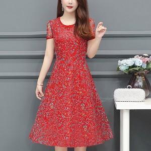Round Neck Short Sleeved Mini Dress - Red