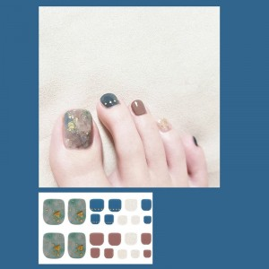 Set Of 22 Pieces Full Beauty Foot Nails 3D Stickers 218 - Blue Ash