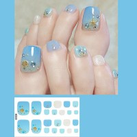 Set Of 22 Pieces Full Beauty Foot Nails 3D Stickers 223 - Sky Blue