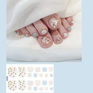 Set Of 22 Pieces Full Beauty Foot Nails 3D Stickers 224 - Gray Gold