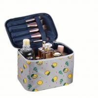 Leaves Printed Zipper Closure Traveller Cosmetics Bags - Gray