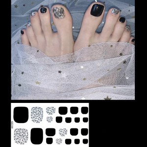 Set Of 22 Pieces Full Beauty Foot Nails 3D Stickers 230 - Black Silver