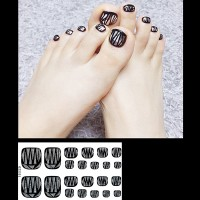 Set Of 22 Pieces Full Beauty Foot Nails 3D Stickers 231 - Black Gray