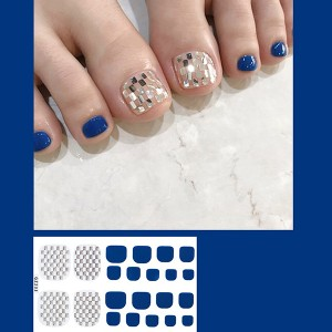 Set Of 22 Pieces Full Beauty Foot Nails 3D Stickers 233 - Decent Blue