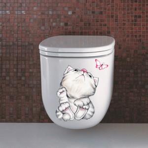 Waterproof Self Adhesive Real Cute Cat Toilet Seat Sticker