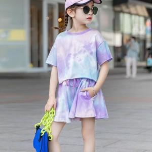 Round Neck Mesh Pattern Loose Wear Two Pieces Dress - Purple