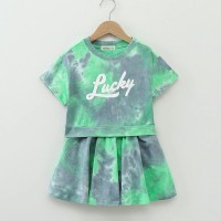 Round Neck Mesh Pattern Loose Wear Two Pieces Dress - Green