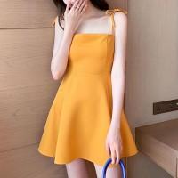 Spaghetti Knotted Strap A-Line Mini Dress - Yellow