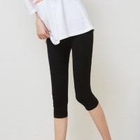 Solid Color Short Length Fitted Trouser - Black