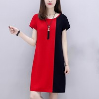 Round Neck Short Sleeves Contrast Mini Dress - Red