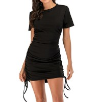 Round Neck String Strapped Body Fitted Mini Dress - Black