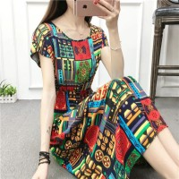 Graphic Printed Short Sleeved A-Line Midi Dress - Multicolor