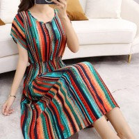 Stripes Printed Short Sleeves A-Line Midi Dress