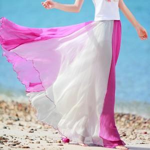 Elegant Color Chiffon Long Fairy Style Skirt For Women - Red White