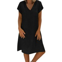 V Neck Solid Color Plain Mini Dress - Black